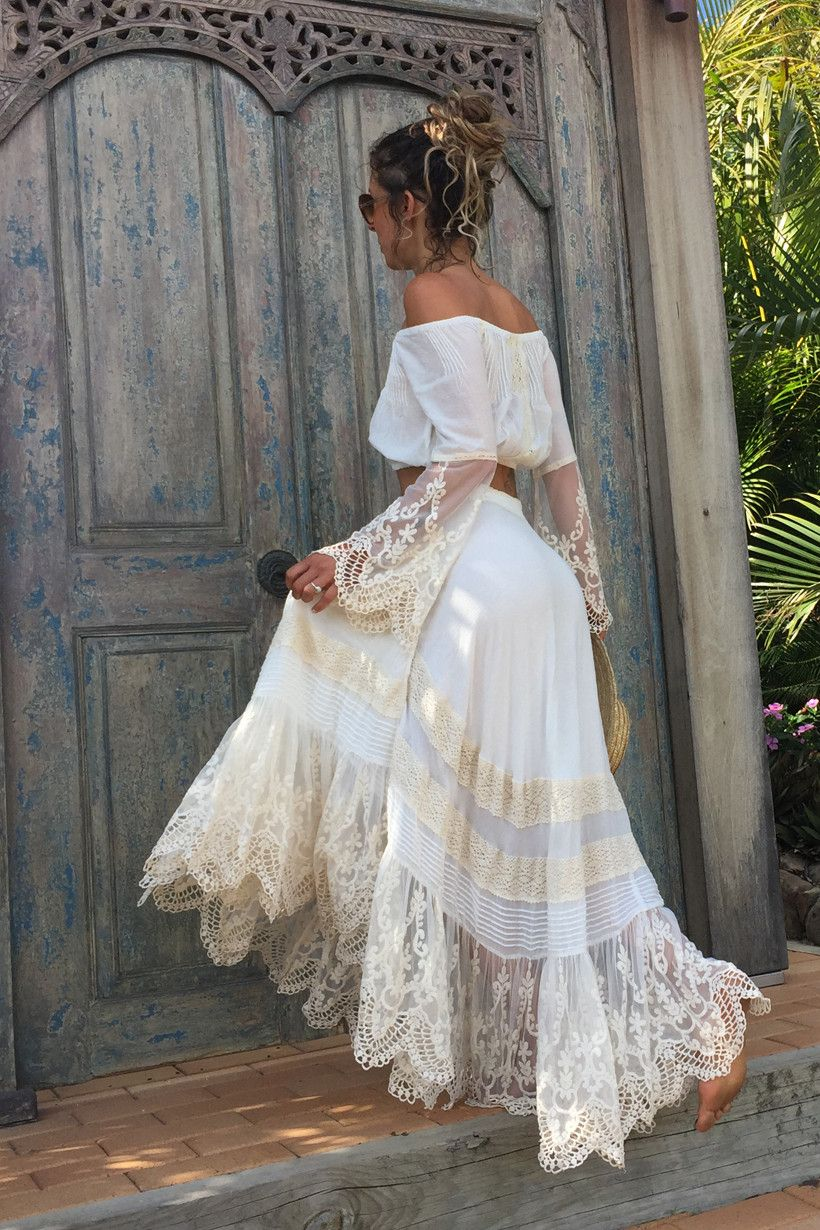 Peasant girl wrap skirt white u spell u the gypsy collective