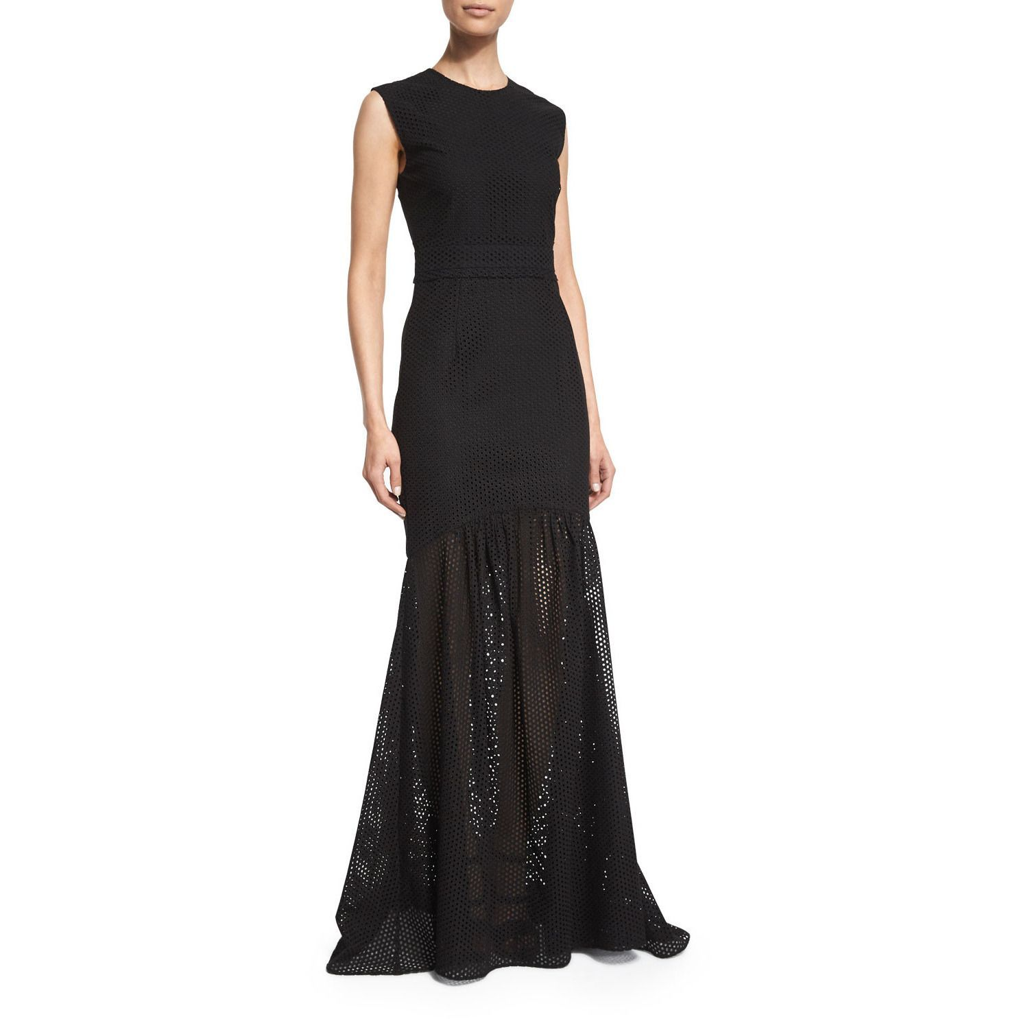 Sleeveless Eyelet Mermaid Gown, Black | Products | Pinterest ...