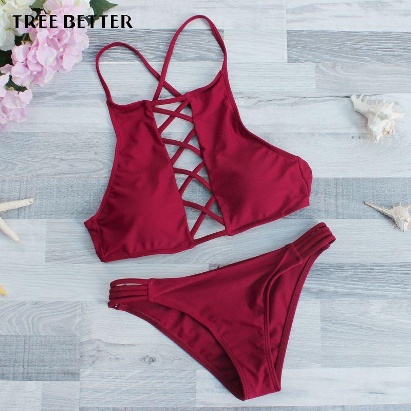 TREE BETTER Hot Bikini Brazilian Biquini Swimsuits Push Up Swimwear ...
