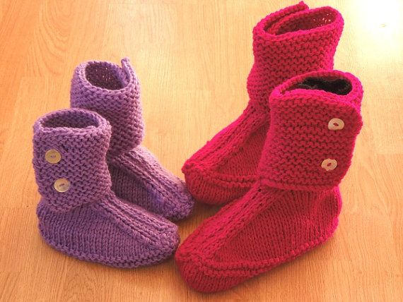 Knitting PATTERN - Slouch Slippers For The Family, Quick and Easy ...