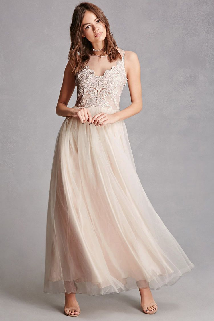 A woven maxi dress featuring an illusion neckline, a round neckline, a sleeveless cut, appliques allover the bodice, a full tulle skirt, and a hidden side zipper. This is an independent brand and not a Forever 21 branded item.