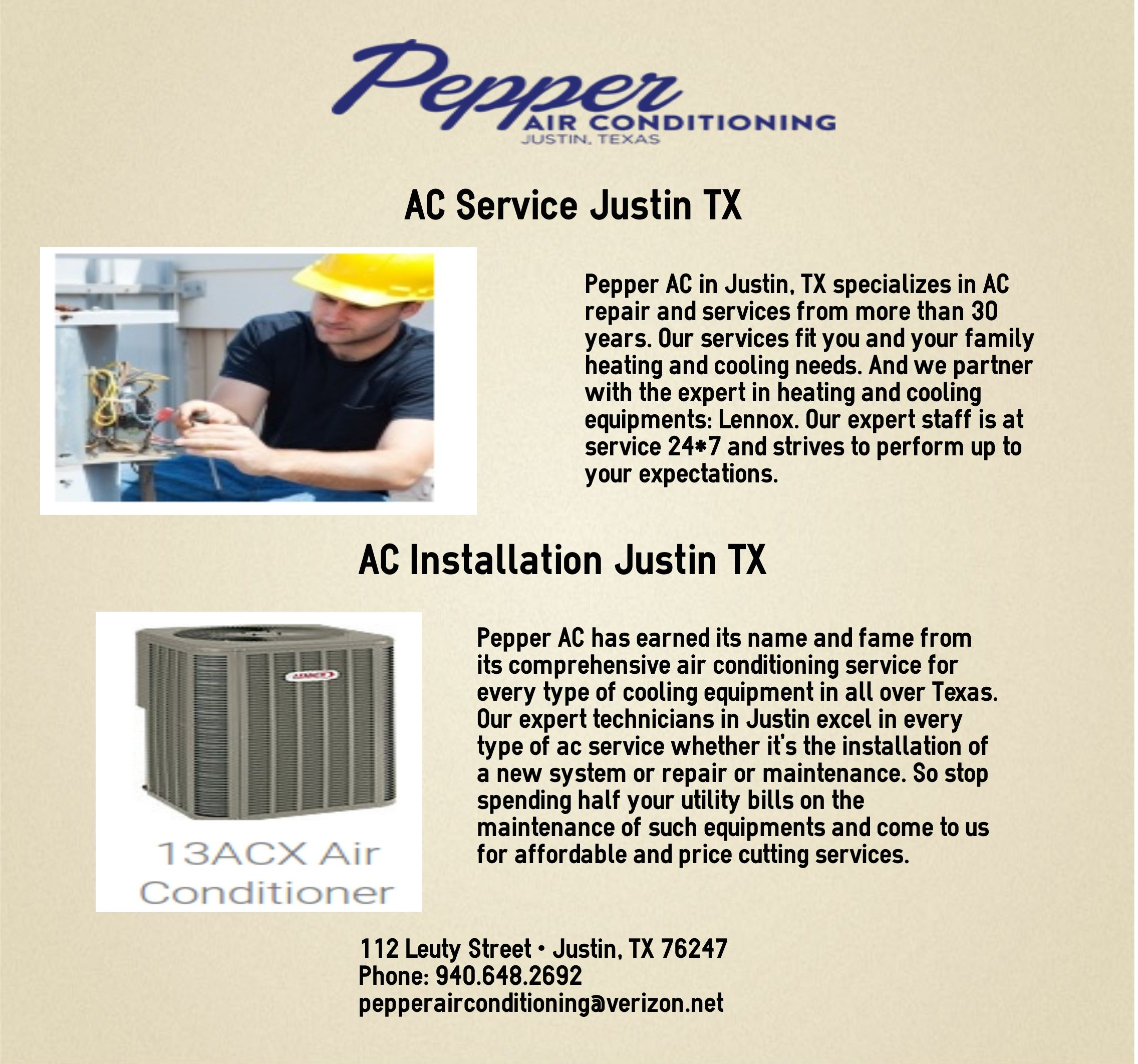 Pepper Ac In Justin Tx Specializes In Ac Repair And Services From More Than 30 Years Air Conditioning Services 30 Years Heating Cooling