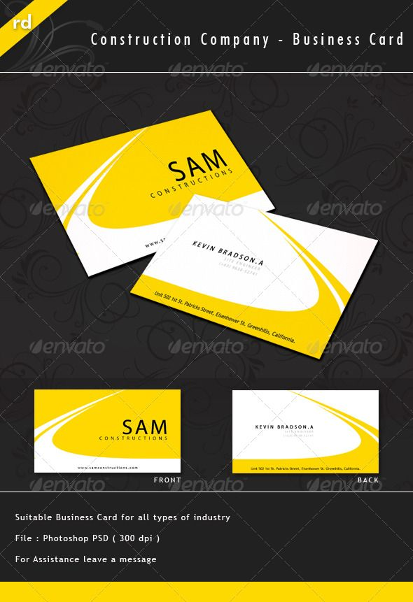 Construction Company - Business Card | Business cards, Construction ...