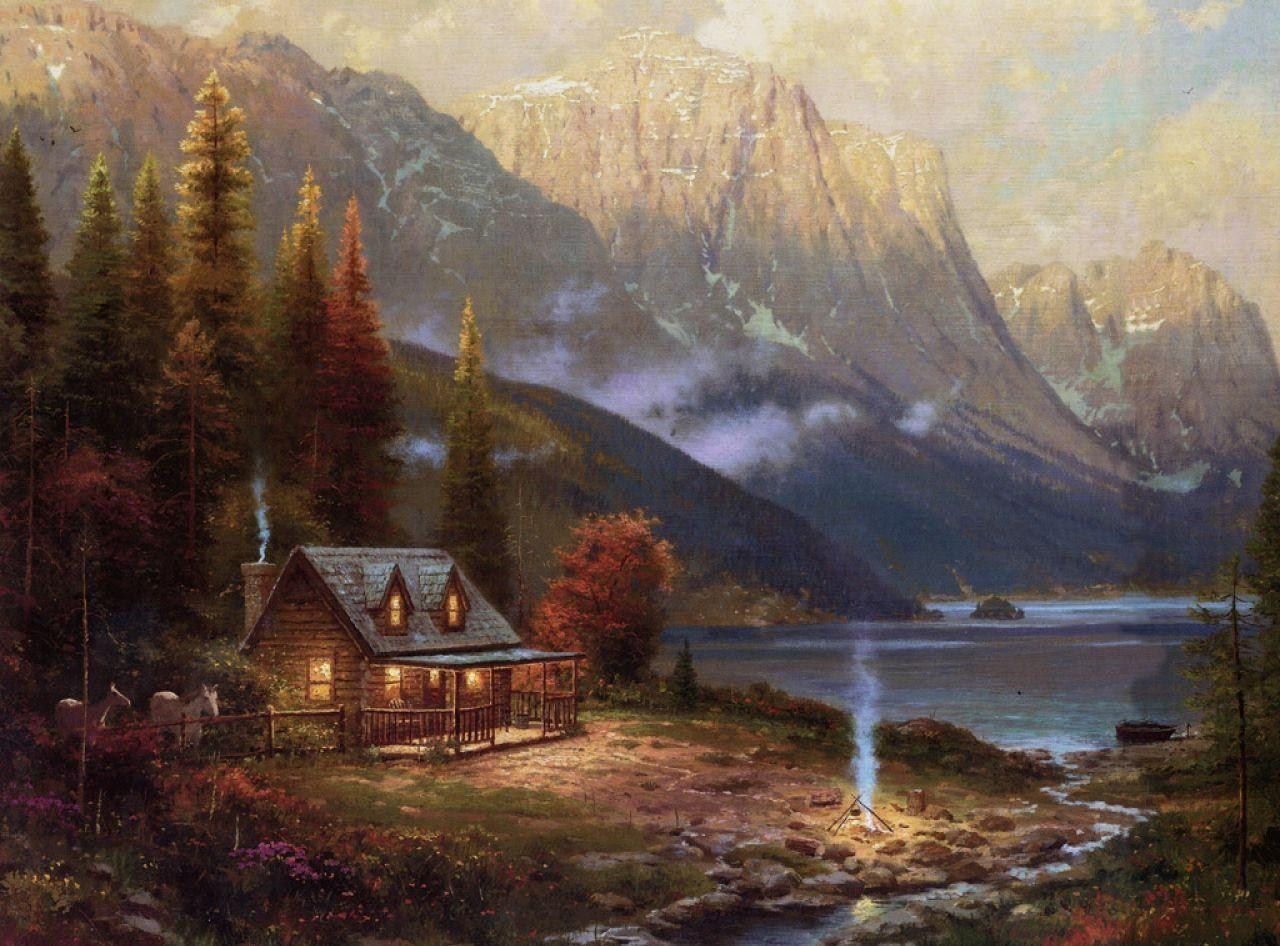 Log cabin in the woods painting - Paintings Of Forest With House Forest Horses House Lake