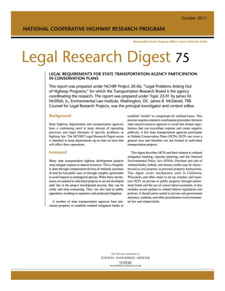 Legal Requirements For State Departments Of Transportation Agency