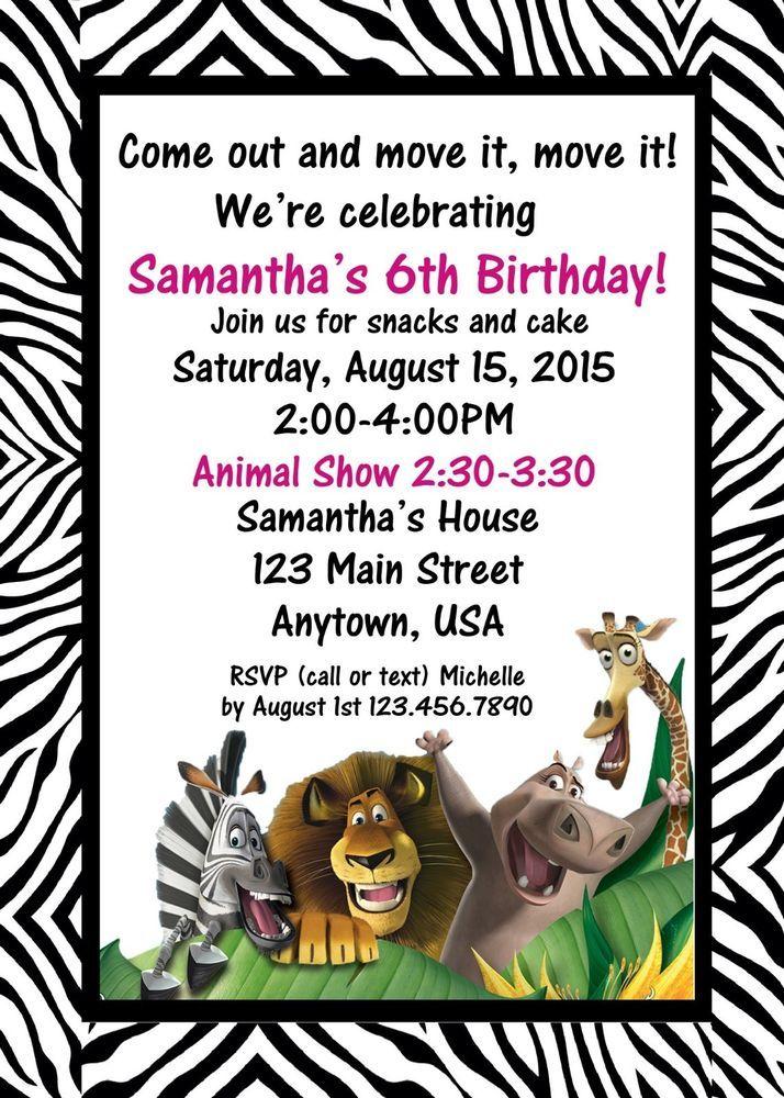 Jungle Birthday Invitation, Jungle Birthday, Invitations, Zebra ...