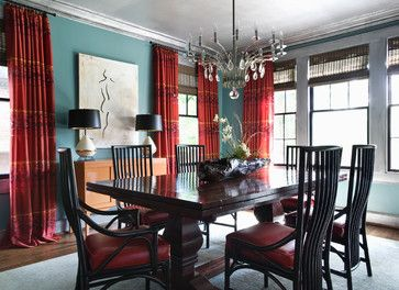 Blue Walls Red Curtain Design Ideas Pictures Remodel And Decor Dining Room Blue Eclectic Dining Room Blue Walls Living Room