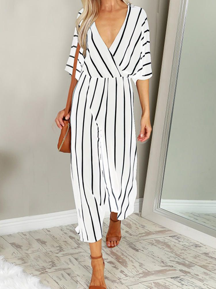 1a442fa7a41b Only US 24.39 shop women casual loose deep v-neck striped jumpsuit at  Banggood.com. Buy fashion jumpsuits   playsuits online. - Banggood Mobile
