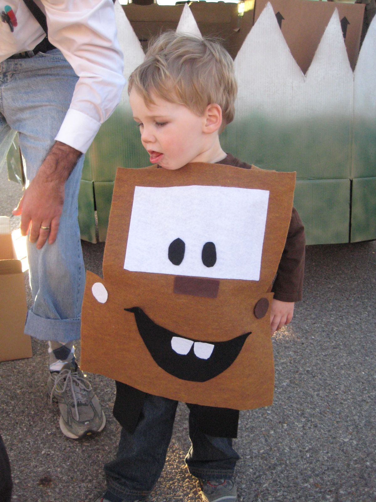 Mater costume for toddler adventures in creating quick for Quick halloween costumes for toddlers
