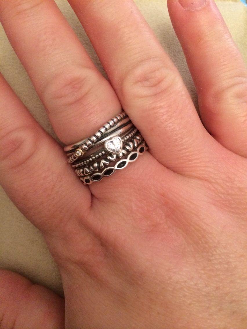 e578fc5363d7b Pandora ring stack birthday heart ring   Jewelry   Pandora rings ...