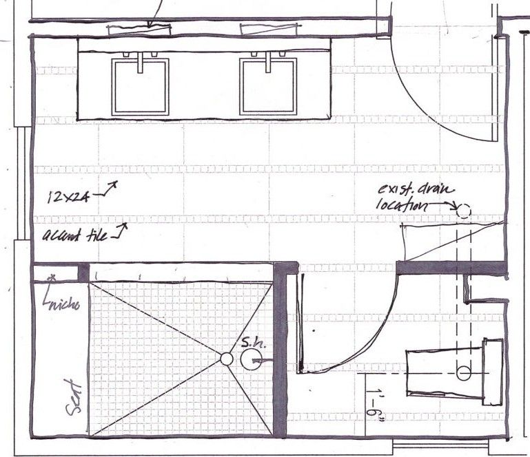 Master Bathroom Floor Plans With Walk In Shower. Layout For A Master Bathroom Move Entrance To Shower Across From The Toilet Move Sink To The Wall Next To The Toilet Where The Door Is Now