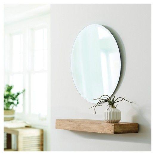 threshold round frameless decorative wall mirror