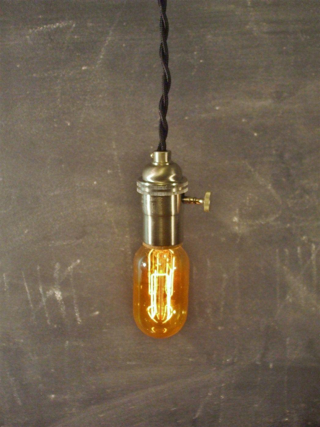 Vintage Minimalist Industrial Bare Bulb Light Socket Pendant