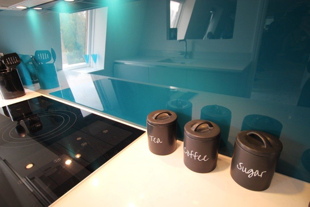 Grey And Teal Kitchen luxury kitchen splashback in teal. | ideas for the house