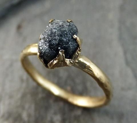 raw diamond solitaire engagement ring rough uncut gemstone gold conflict free black diamond wedding promise by - Hippie Wedding Rings