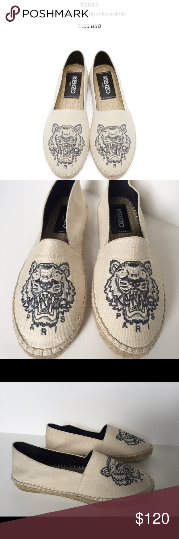 KENZO women's espadrille loafer shoes tiger 37 6.5 Kenzo