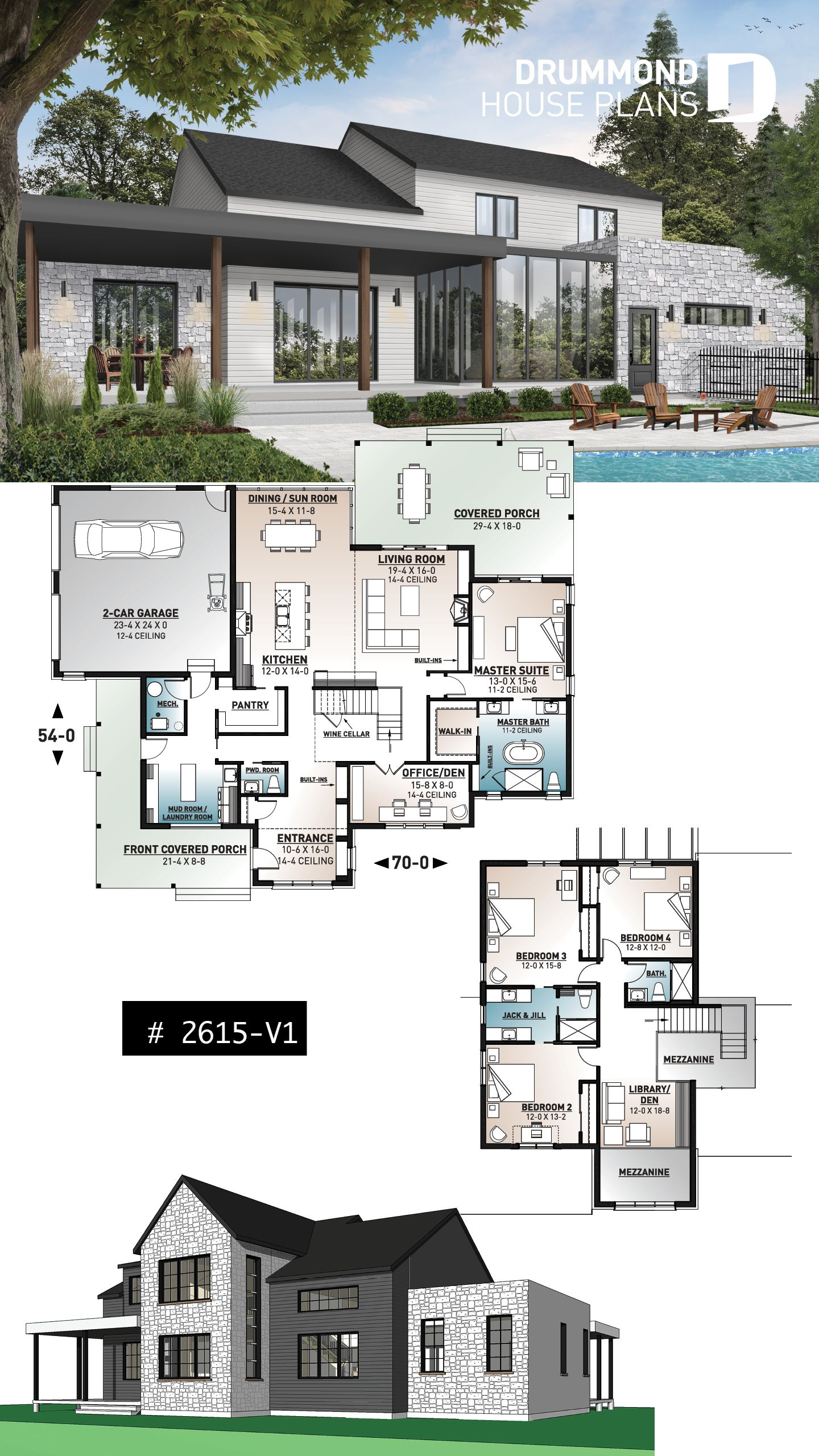 Discover The Plan 2615 V1 New Cotton Country 2 Which Will Please You For Its 4 Bedrooms And For Its Modern Farmhouse Styles Modern Farmhouse Plans House Plans Farmhouse Sims House Plans