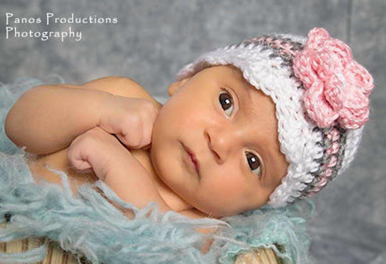 Crochet Toddler Hat White Coming Home Hat Crochet Striped Baby Girl Beanie Pink Crochet Baby Hat Newborn Photo Prop Baby Shower Gift