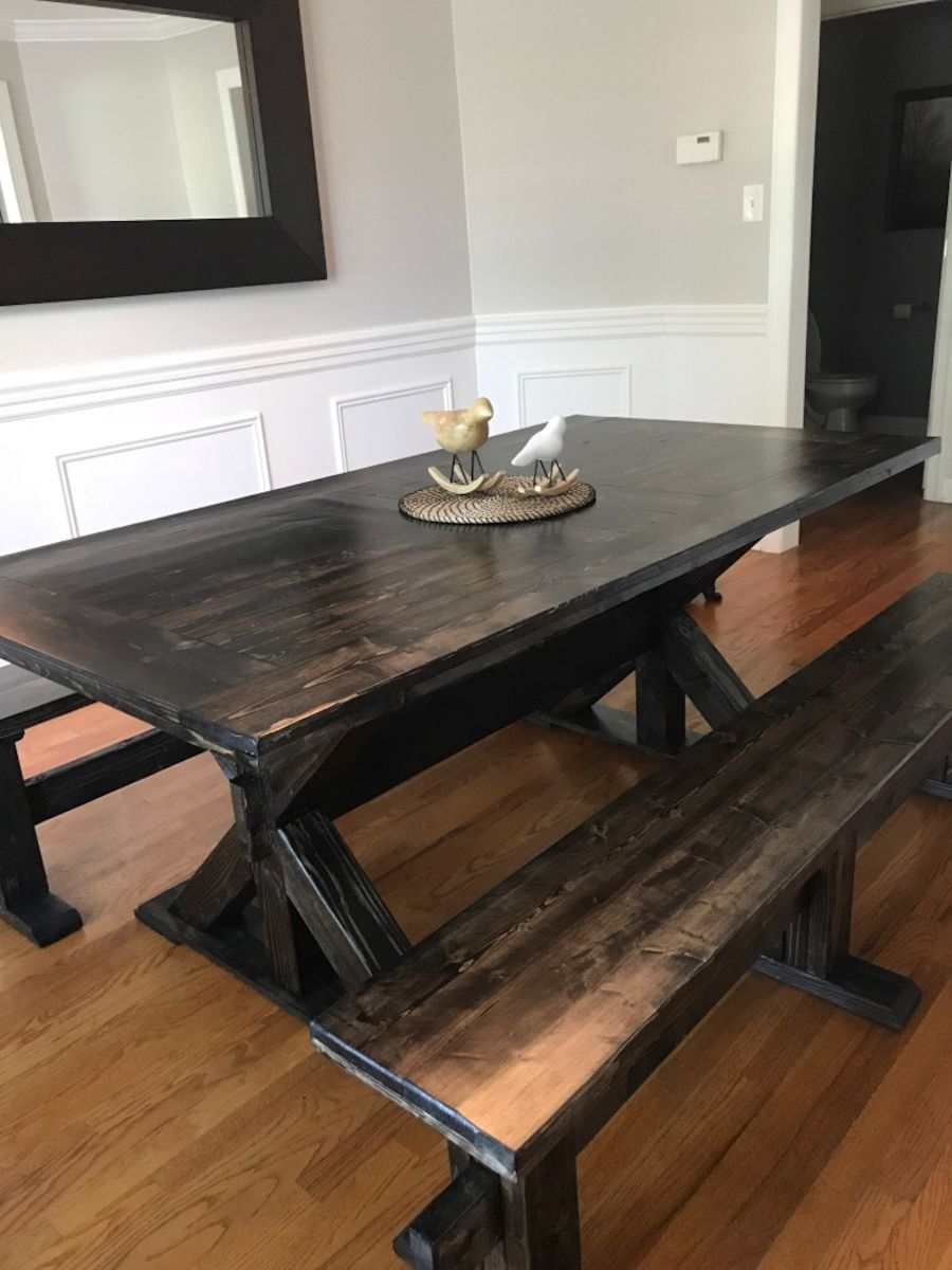 Letgo  Farmhouse Dining Table With Benches In New Lenox Il New Farmhouse Dining Room Table For Sale 2018