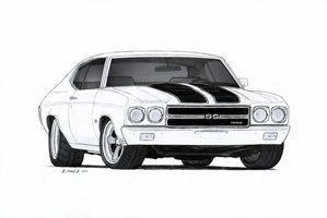 1970 Chevrolet Chevelle SS Pro Touring Drawing by Vertualissimo | 2D ...