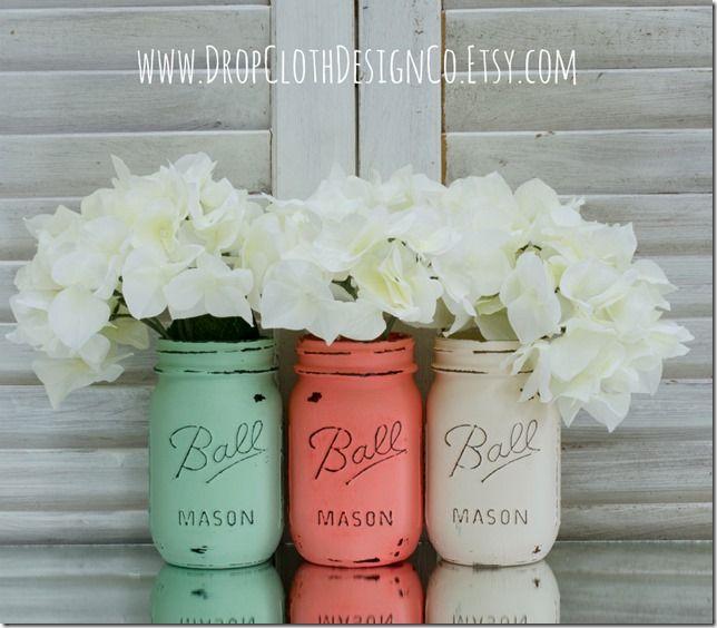 Mason Jars Decorated Spring Wedding Jars  White Paints Mint Green And Jar