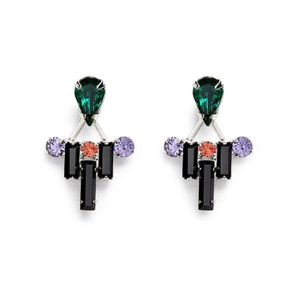 Joomi Lim 'Pixel Perfect' crystal ear deco earrings ($230) ❤ liked on Polyvore featuring jewelry, earrings, metallic, art deco jewelry, deco jewelry, crystal earrings, metallic jewelry and crystal jewellery
