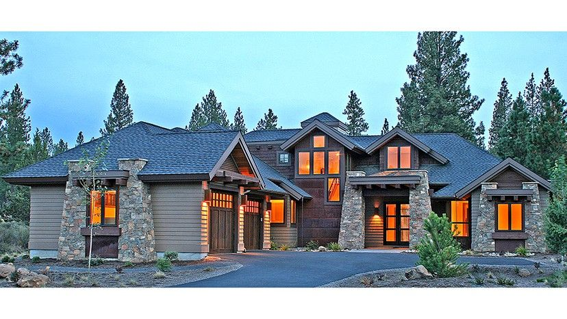 contemporary modern home design. Contemporary Craftsman Style Lodge HWBDO77112 Modern Houses  from BuilderHousePlans com upper deck