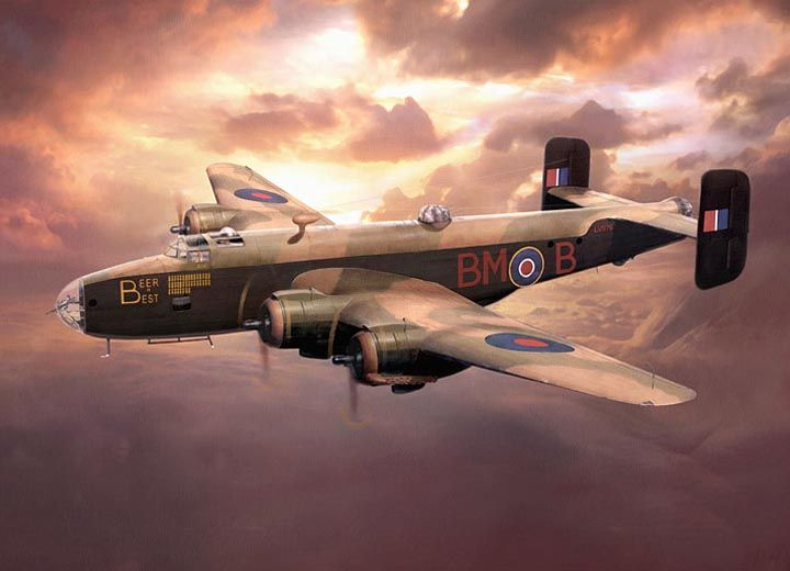 Image result for paintings raf halifax bomber