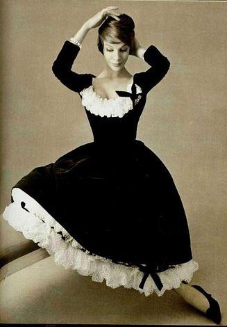 Black velvet dress with white ruffles Christian Dior, 1957