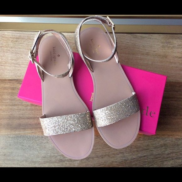 c581170a82241d Kate Spade Coney Rose Gold Sandal Glamorous rose gold glitter-specked ankle  strap sandals. Buckle closure