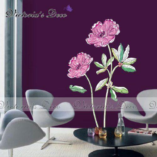 Home Decor Mural Art Wall Paper Stickers -Fantasy Purple Flowers ECO-015 by Victoria's deco, http://www.amazon.com/dp/B002OQ8ROY/ref=cm_sw_r_pi_dp_QOEXpb0DK9JK9