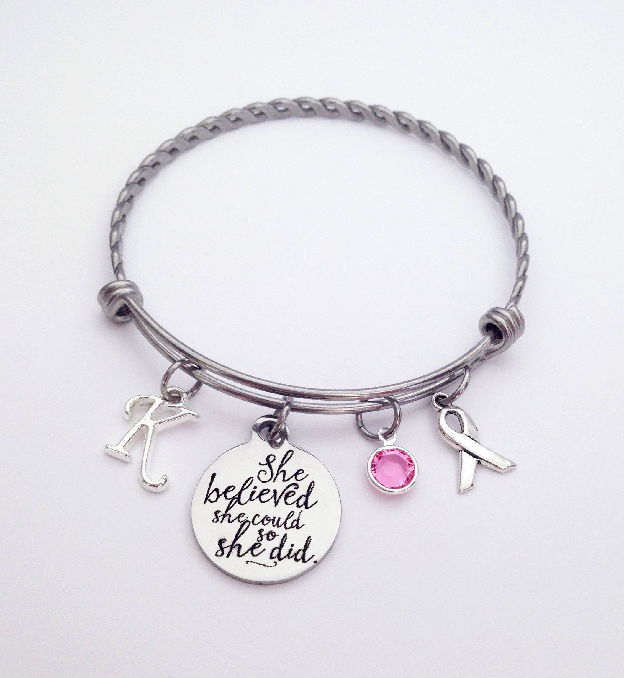 pin bracelet cancer breast ribbon hope gemstone charm survivor awareness
