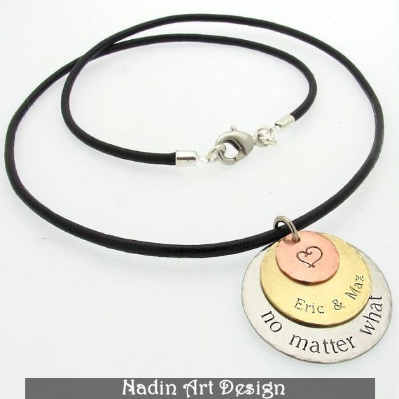 Custom Leather Necklace / 3 Discs Pendant from NadinArtDesign by DaWanda.com