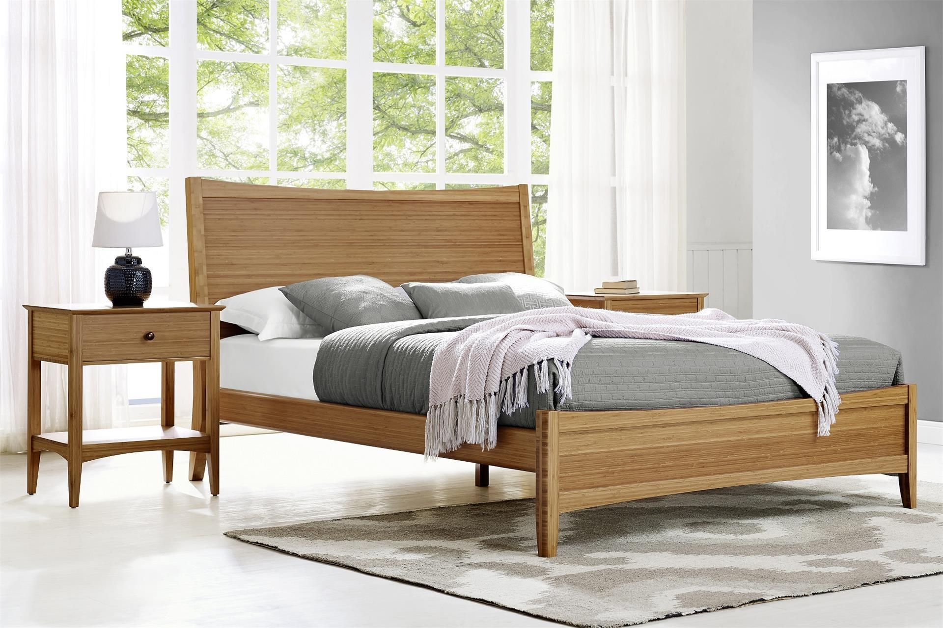 Greenington Willow 3 Piece Bamboo Bedroom Set Modern Platform Bed With Nightstands Furniture Collection This