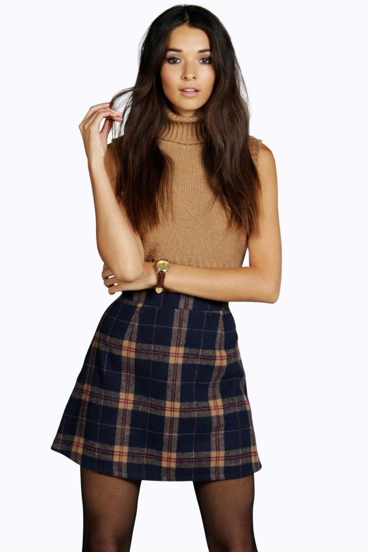 b7b9704043 Amelle Woven Brushed Check A Line Mini Skirt | S t y l e | Mini ...