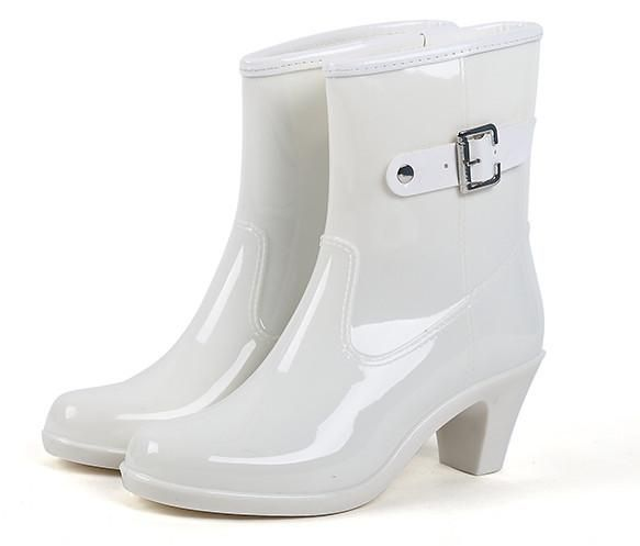 bc335ccf16c6 Women High Heels Wedges Rain Boots Mid-calf Waterproof PVC Rainboots Water  Shoes Woman Wellies Boots  promdresses  dresses  womens  weddingdresses ...