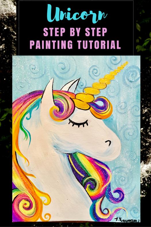 How To Paint A Rainbow Unicorn Unicorn Painting Kids Canvas Art