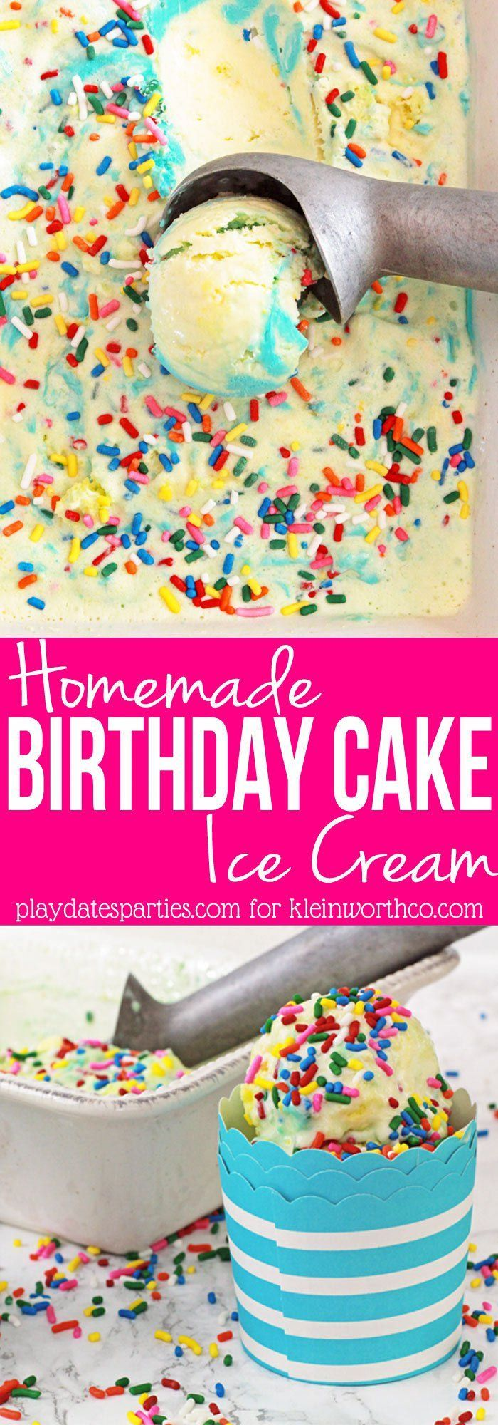Celebrate anytime with Birthday Cake Ice Cream! Rich butter-flavored ice cream is packed with real cake, rainbow sprinkles, and a blue frosting ribbon. YUM! #eis #eis selber machen #homemade ice cream #ice cream #ice cream cake #ice cream design #ice cream desserts #ice cream recipes