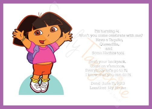 DIY Dora The Explorer Themed Birthday Party - 5x7 Printable Invitation