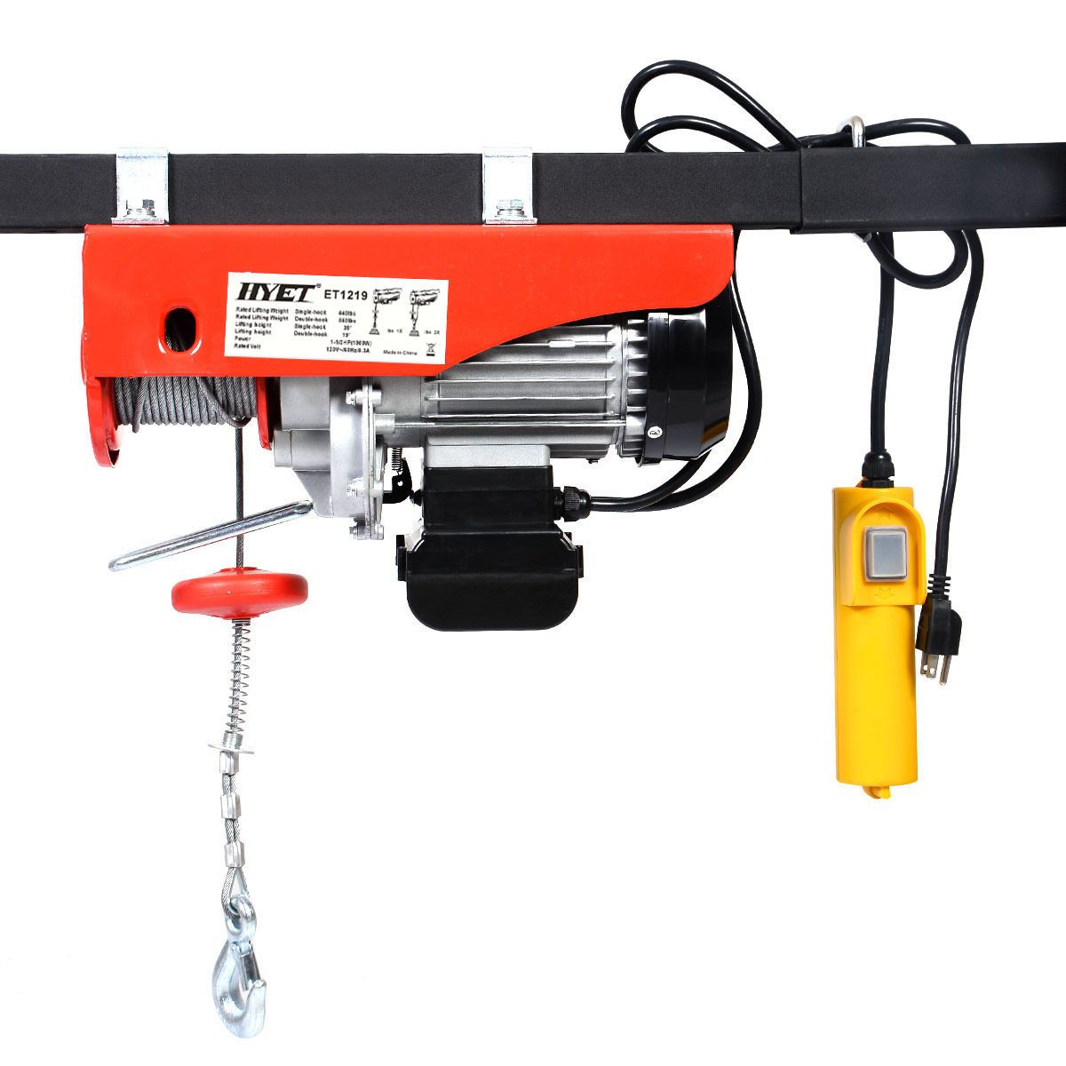 880lbs Mini Electric Wire Hoist Remote Control Garage Auto Shop ...