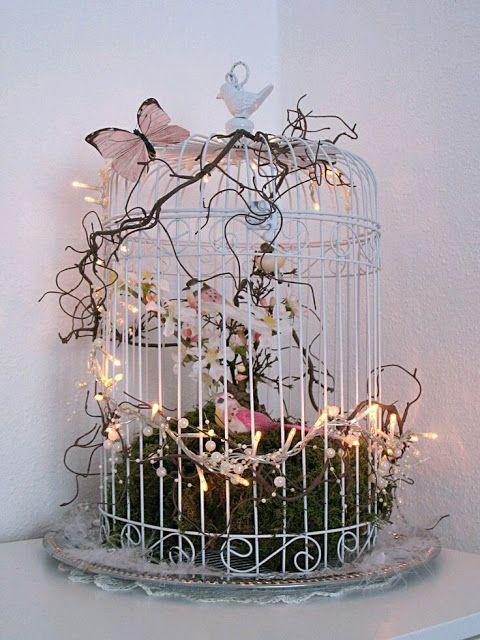 Mas Y Mas Manualidades Centros De Mesa Usando Jaulas Vintage Bird Cage Decor Bird Cage Decor Bird Cage Centerpiece