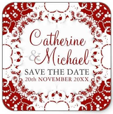 Red+White Lace #Wedding Save the Date / Announcement #Sticker #customizable
