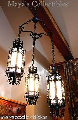 Gothic Spanish Revival Wrought Iron Chandelier Light Fixture Arts Crafts