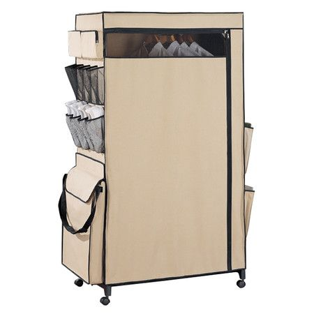 Craft Storage Wheeled Wardrobe Center With A Garment Rod And Outside Storage Features Inside Space For Clothing Storage Zip With Images Closet Organizing Systems