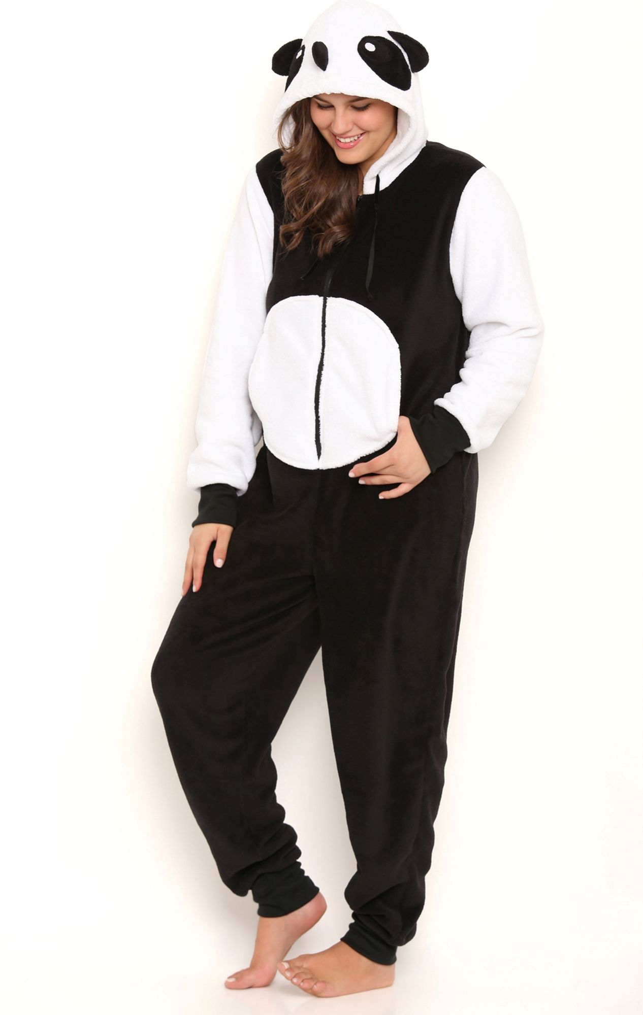 Deb Shops Plus Size Plush Panda Print Onesie with Face Hood ...