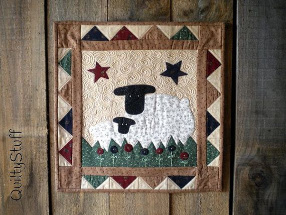 Wooly sheep quilt pattern pdf wall hanging or table runner