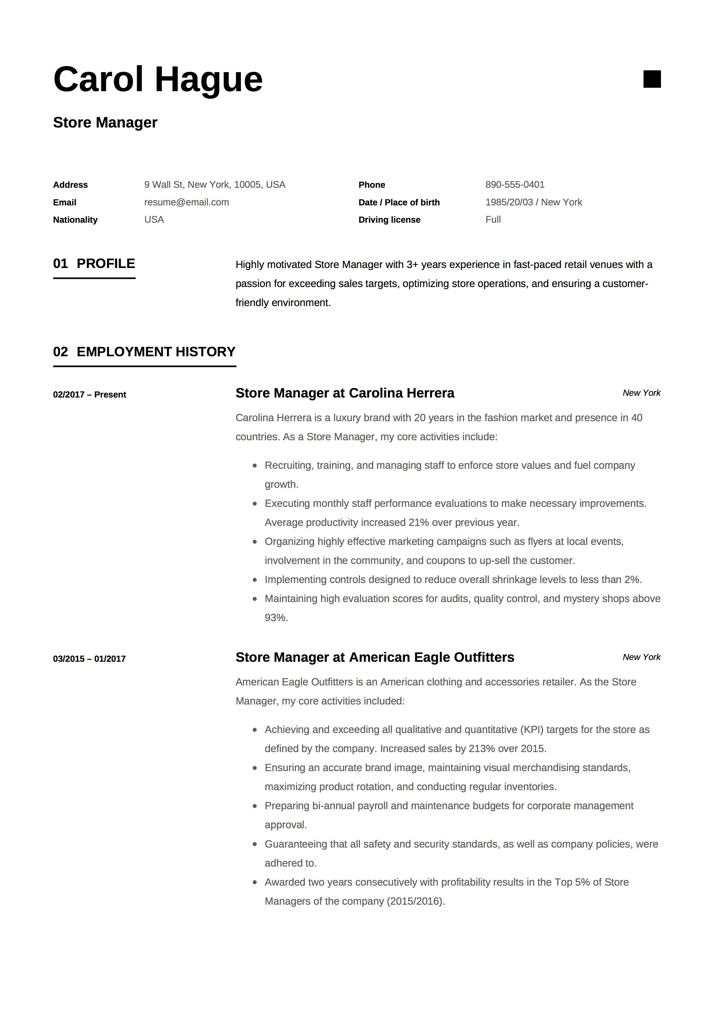 Store Manager Resume Sample Template Example Cv Formal Design