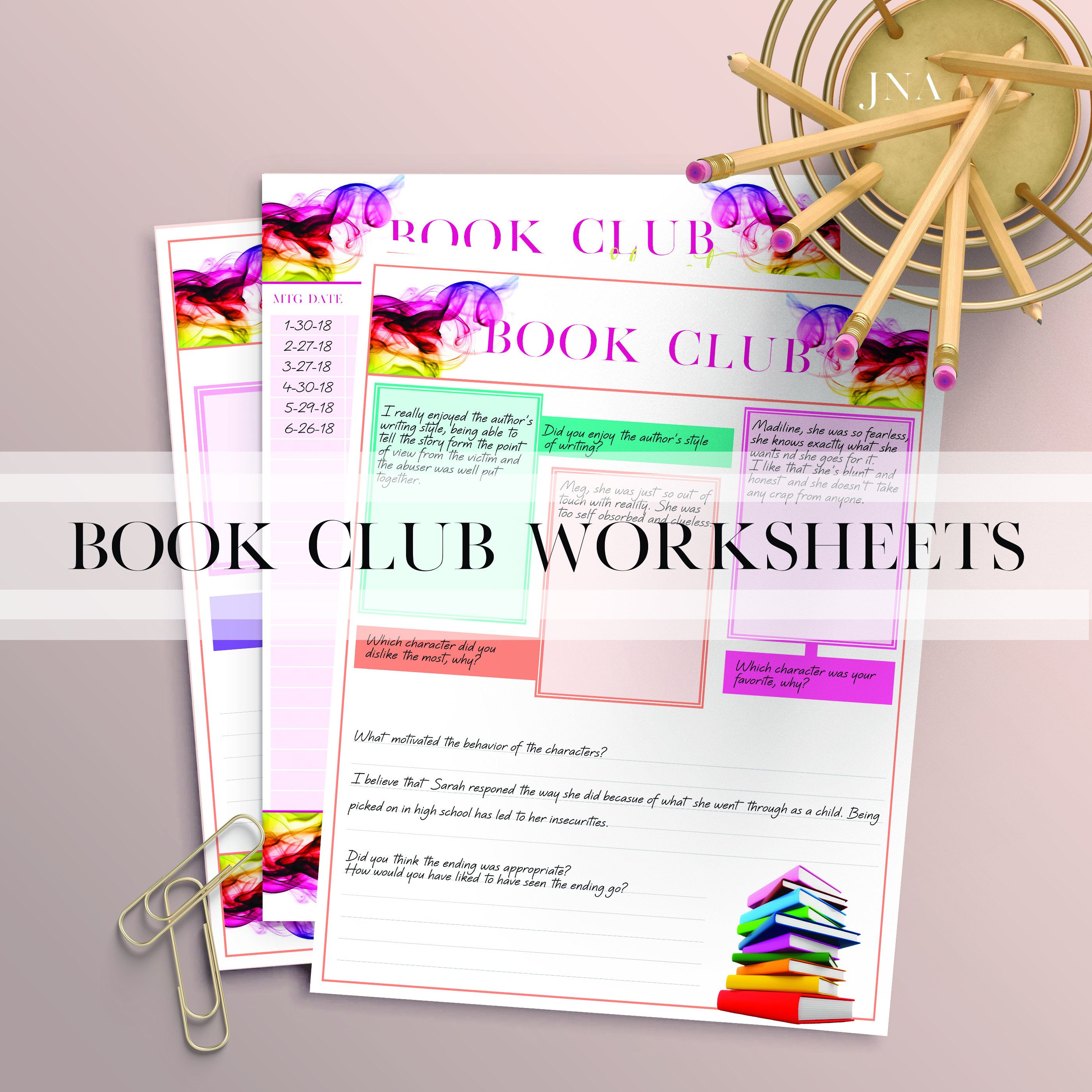 Book Club Worksheets Instant Download