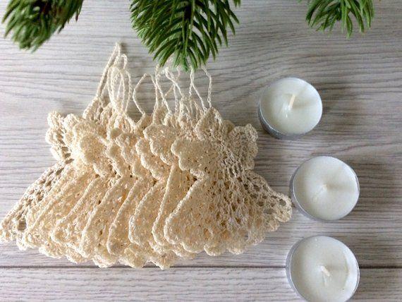 Angel Shaped Christmas Tree.Handmade Crochet Milky White Angel Shaped Christmas Tree