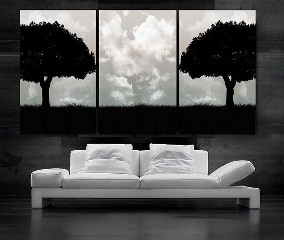 Large 30x 60 3 panels art canvas print beautiful tree black white wall